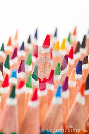 Multicolored pencils placed in group on white background
