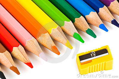 Multicolored pencils and sharpener