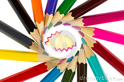Multicolored pencils and wood shavings