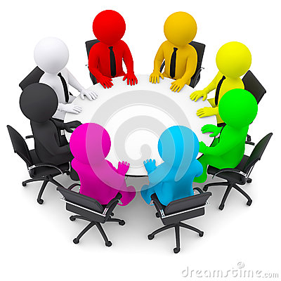 Free Multicolored People Sitting At A Round Table Stock Image - 34457371