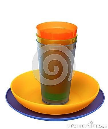 Multicolored plasticplates,cups