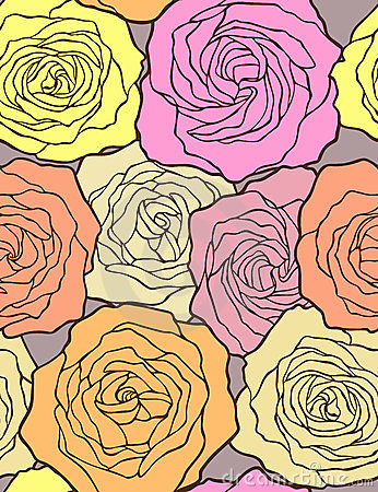 Multicolored roses. Seamless vector pattern.