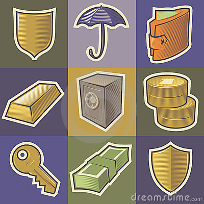 Multicolored security icons