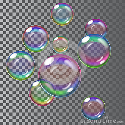 Free Multicolored Soap Bubbles. Transparency Only In Vector File Royalty Free Stock Photo - 57096565
