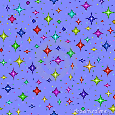 Multicolored stars on blue