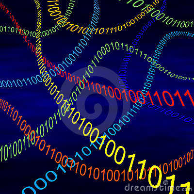 Multicolored steams of binary code in cyberspace