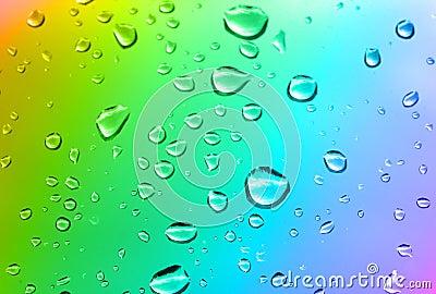 Multicolored water drops