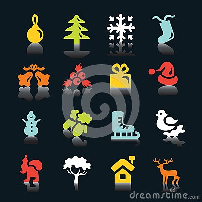 Multicolored  winter and  Christmas icons
