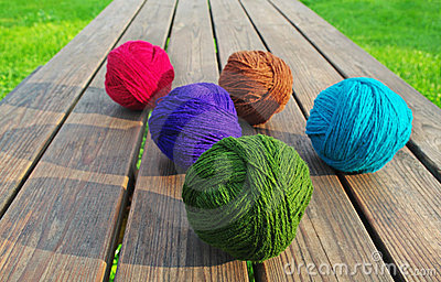 Multicolored wool balls.