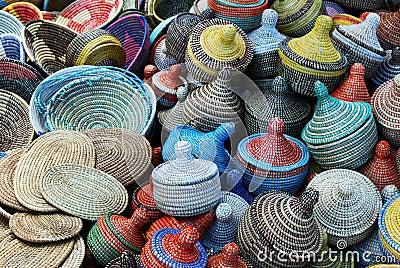 Multicolored woven baskets