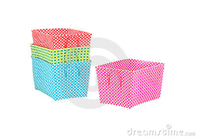 Multicolored woven nylon baskets