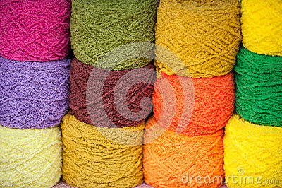 Multicolored yarn.