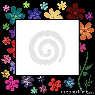 Multicolour floral frame