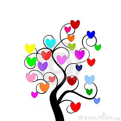 Multicolour hearts tree