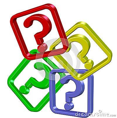 Multicolour question marks