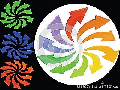 Multicoloured arrows