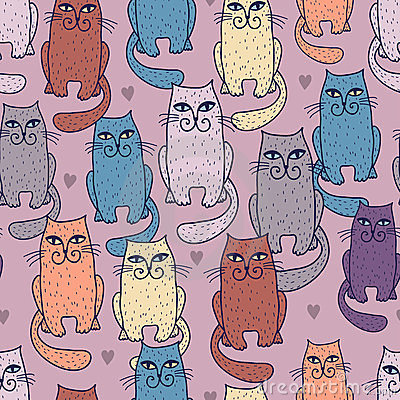 Multicoloured cats seamless pattern