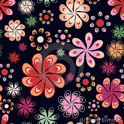 Multicoloured flowers seamless pattern