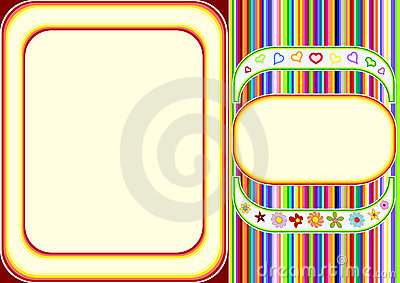 Multicoloured frame with lines and flowers