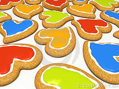 Multicoloured heart cookies