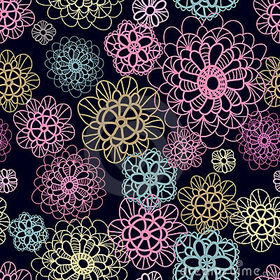 Multicoloured  seamless pattern with lacy flowers