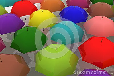 Multicoloured umbrellas