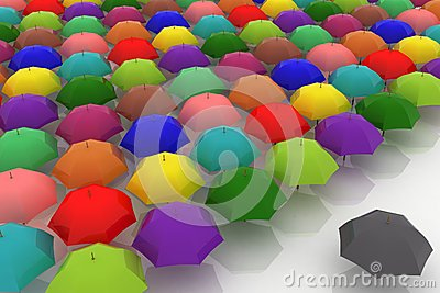 Multicoloured umbrellas are against one dark