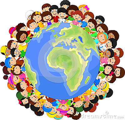 Multicultural Children Cartoon On Planet Earth Stock Vector - Image ...