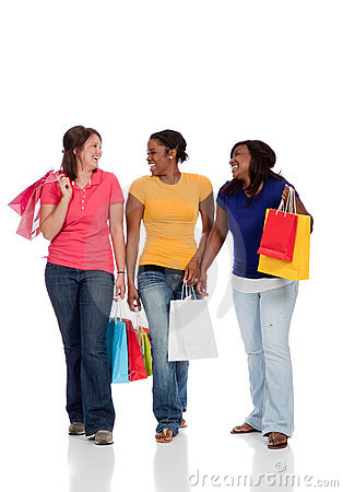 Multicultural College Students, girls shopping