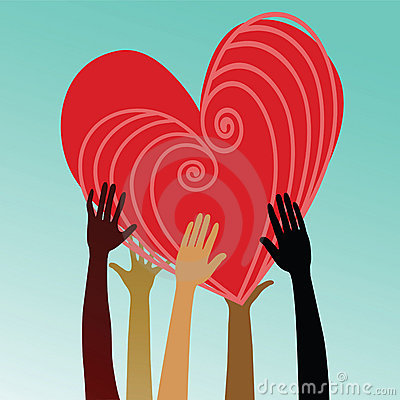 Multicultural hands holding heart