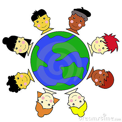 Multicultural Kid Faces United Around Earth Globe