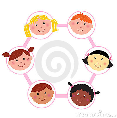 Multicultural unity kids heads -  circle - icons
