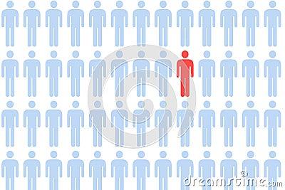 Multidão masculina do ícone