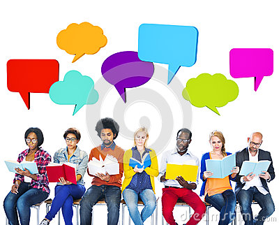 Multiethnic Colorful People Reading with Speech Bubbles Stock Photo