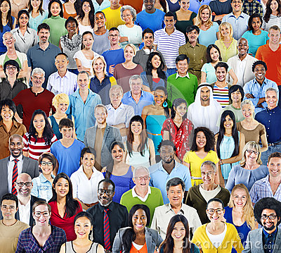 Free Multiethnic Group Of People With Colorful Outfit Stock Photography - 43960432