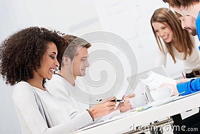 Multiethnic happy business team