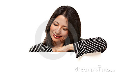 Multiethnic Woman Looking Down to Blank Sign