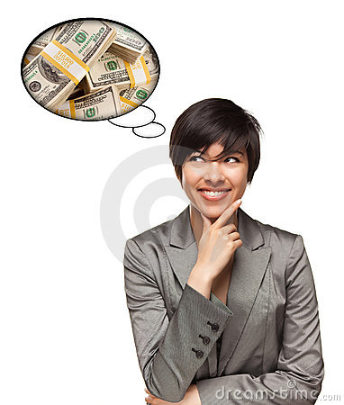 Multiethnic Woman with Thought Bubble of Money