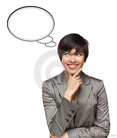 Free Multiethnic Woman With Blank Thought Bubbles Royalty Free Stock Images - 16074349