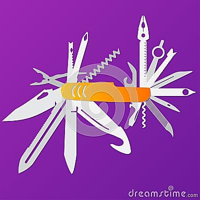 Free Multifunction Flat Knife Illustration,Swiss Knife, Multipurpose Penknife, Army Knife Vector. Royalty Free Stock Photos - 92574268