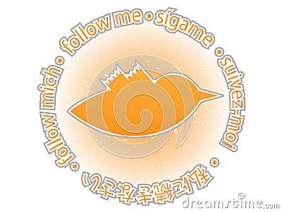 Multilingual follow me texture orange twitter bird