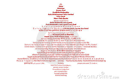 Multilingual Text In Christmas Tree shape