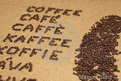 Multilingual word coffee at angle