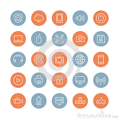 Free Multimedia And Technology Flat Icons Set Royalty Free Stock Photos - 38055848