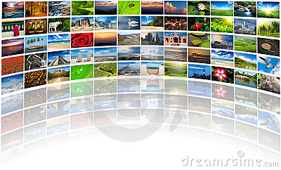 Multimedia background of many images