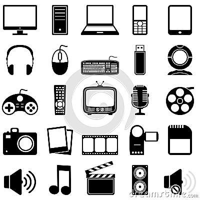 Free Multimedia Black & White Icons Stock Photography - 29948072