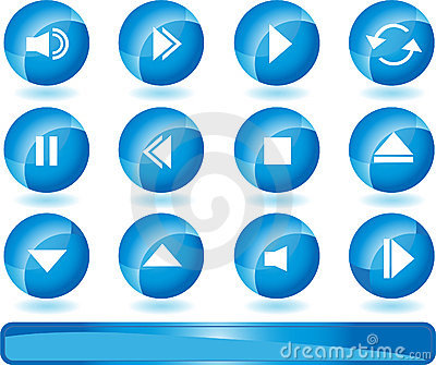Multimedia Buttons - Blue