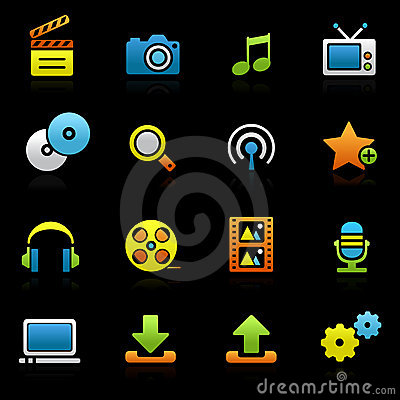 Multimedia color icons on black