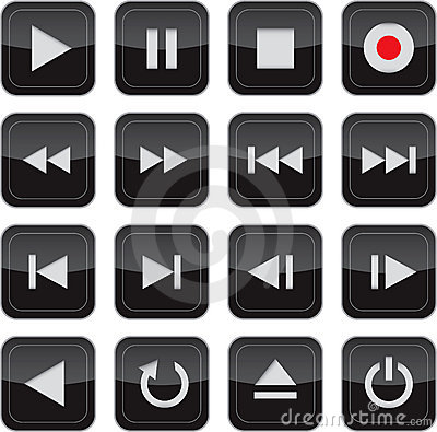 Multimedia control glossy icon set