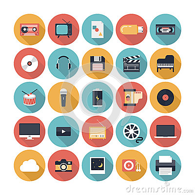 Free Multimedia Flat Icons Set Royalty Free Stock Photography - 35195837
